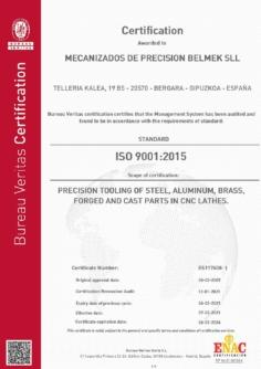 Certificat de Qualité ISO 9001-2015
